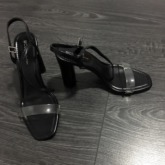 BCBGeneration Black ans Clear strap heels